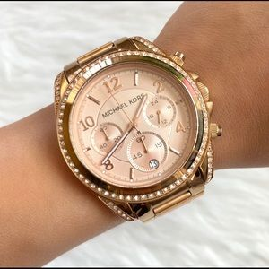 MICHAEL KORS Rose Gold Watch With Diamonds!